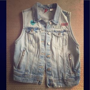 Revamped denim vest with added patches